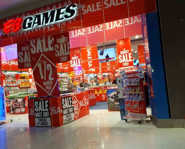 EB Games Westfield Liverpool Sale Signage
