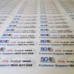 Sheets of untrimmed vinyl stickers