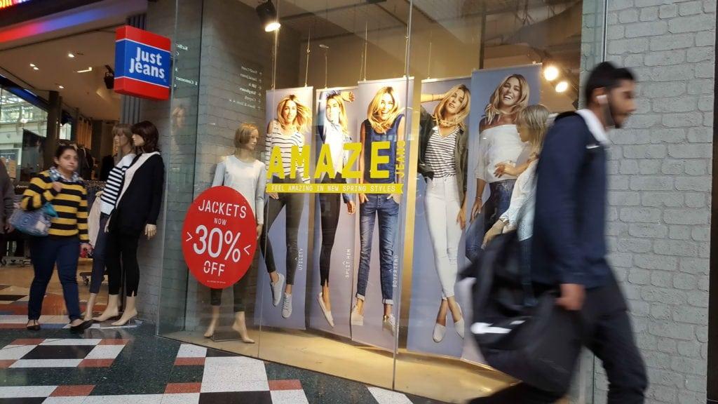 MacAurthur Square Shopfront Just Jeans Banners